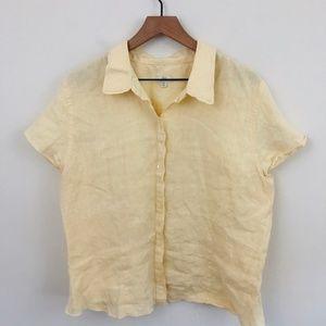 J. Jill 100% Linen Button Front Short Sleeve Shirt